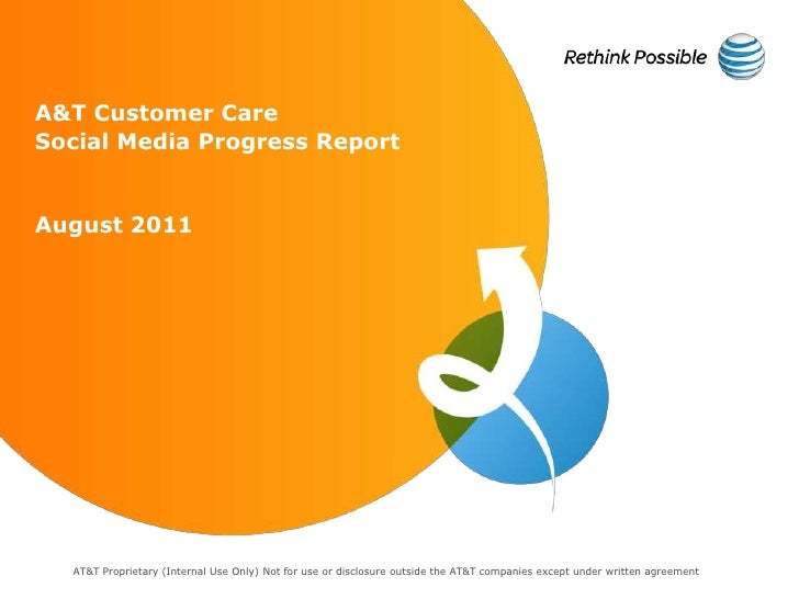 A&T Customer CareSocial Media Progress ReportAugust 2011  AT&T Proprietary (Internal Use Only) Not for use or disclosure o...