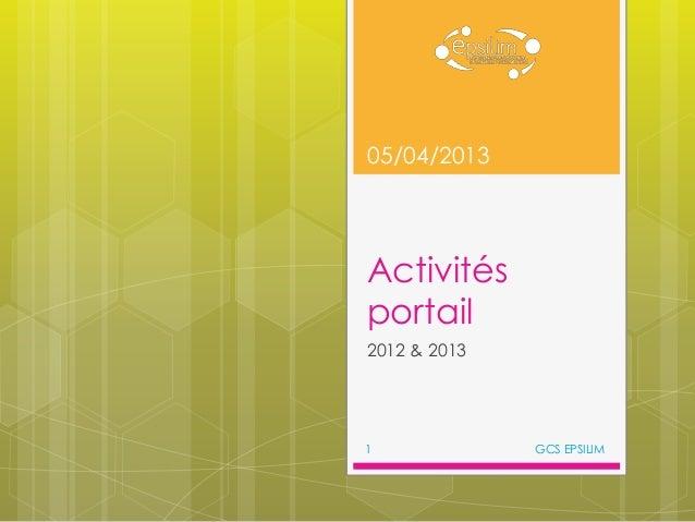 05/04/2013Activitésportail2012 & 20131             GCS EPSILIM