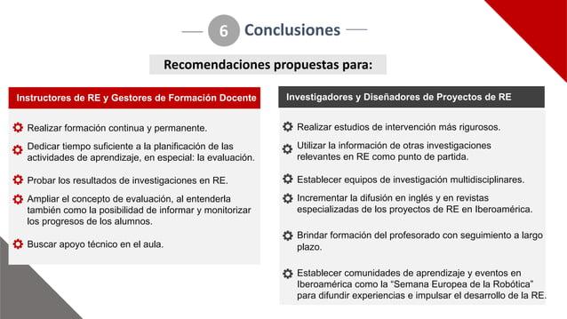 Conclusiones 6 Realizar(formación(continua(y(permanente. Dedicar(tiempo(suficiente(a(la(planificación(de(las( actividades(...