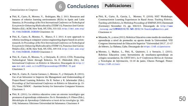 50 Conclusiones 6 Publicaciones