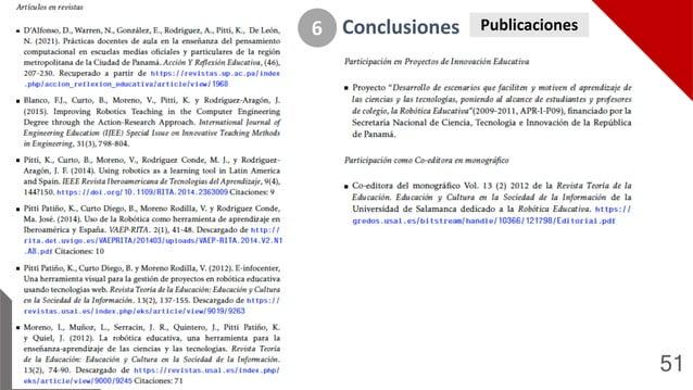 51 Conclusiones 6 Publicaciones