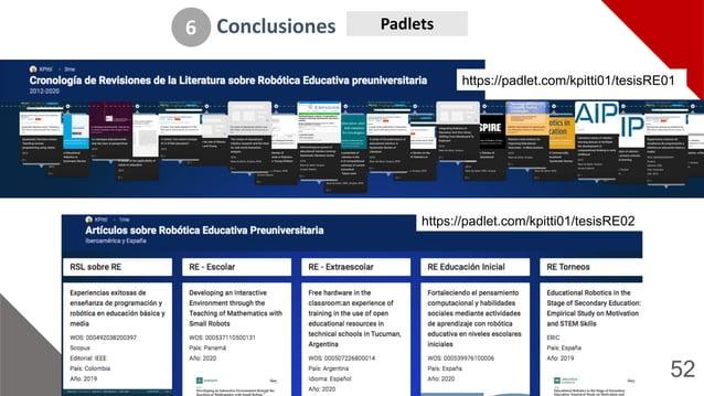 52 Conclusiones 6 Padlets https://padlet.com/kpitti01/tesisRE02 https://padlet.com/kpitti01/tesisRE016