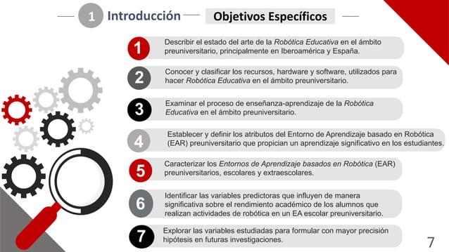 7 Introducción 1 Objetivos2Específicos Describir(el(estado(del(arte(de(la(Robótica)Educativa)en(el(ámbito( preuniversitari...