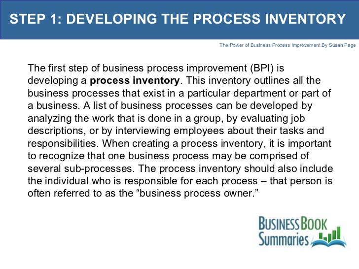 The power of business process improvement 6 step 1 developing the process inventory flashek Gallery