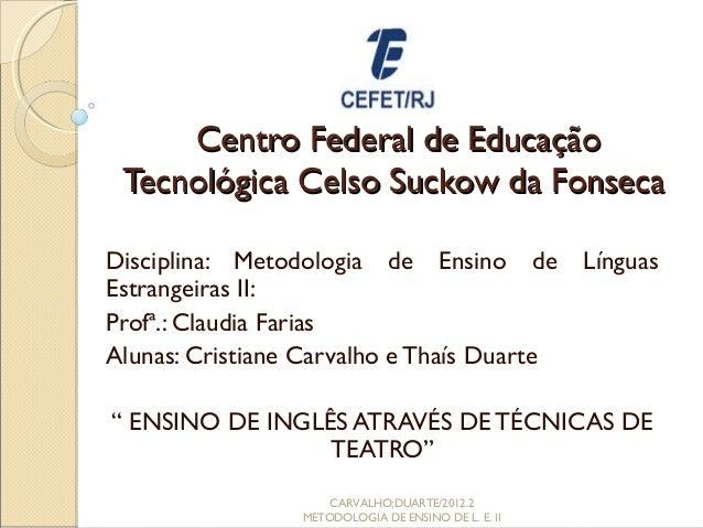 Centro Federal de Educação Tecnológica Celso Suckow da FonsecaDisciplina: Metodologia de Ensino de                 Línguas...