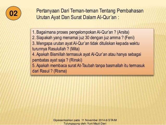 Ppt Urutan Surat Dan Ayat Al Quran Asl Iiiiiiiiii