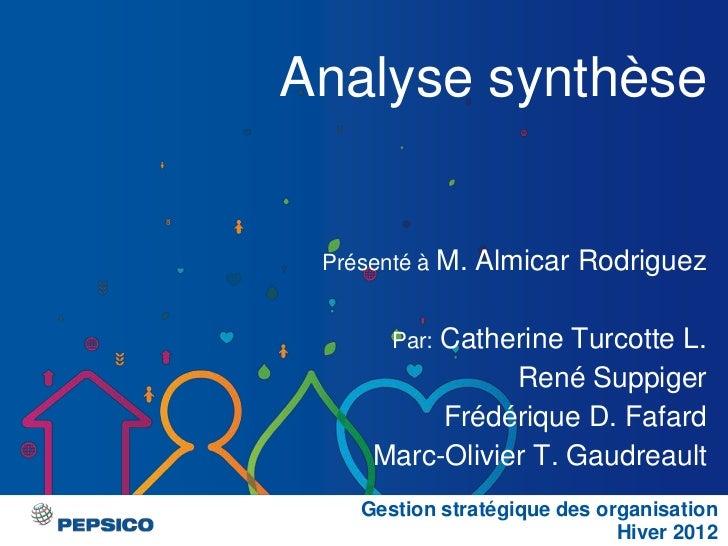 Analyse synthèse Présenté à M.   Almicar Rodriguez         Catherine Turcotte L.       Par:                René Suppiger  ...