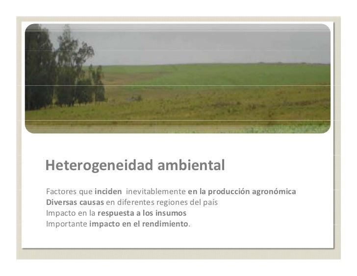 Heterogeneidad ambientalFactoresqueincidenFactores que inciden inevitablemente en la producción agronómica              ...