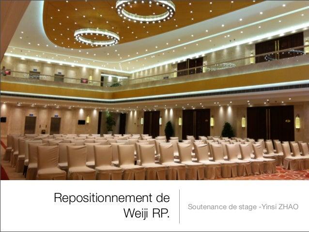 Repositionnement de Weiji RP. Soutenance de stage -Yinsi ZHAO
