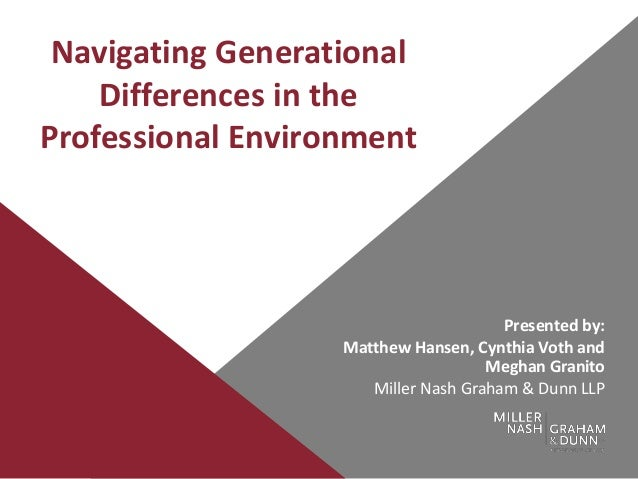 Navigating Generational Differences in the Professional Environment Presented by: Matthew Hansen, Cynthia Voth and Meghan ...