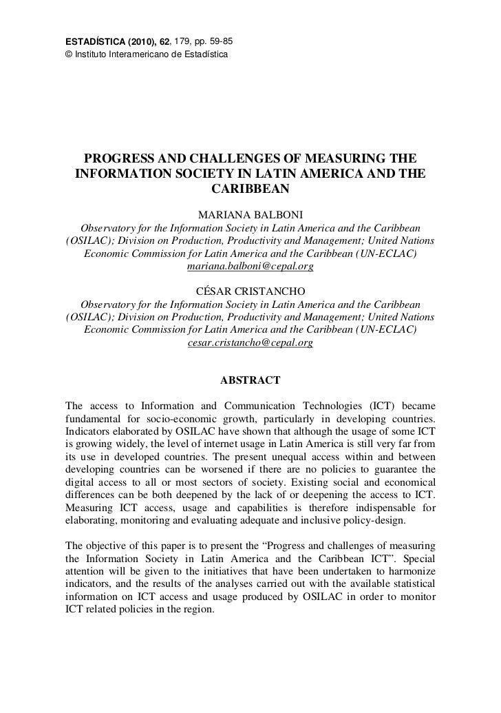 ESTADÍSTICA (2010), 62, 179, pp. 59-85© Instituto Interamericano de Estadística   PROGRESS AND CHALLENGES OF MEASURING THE...