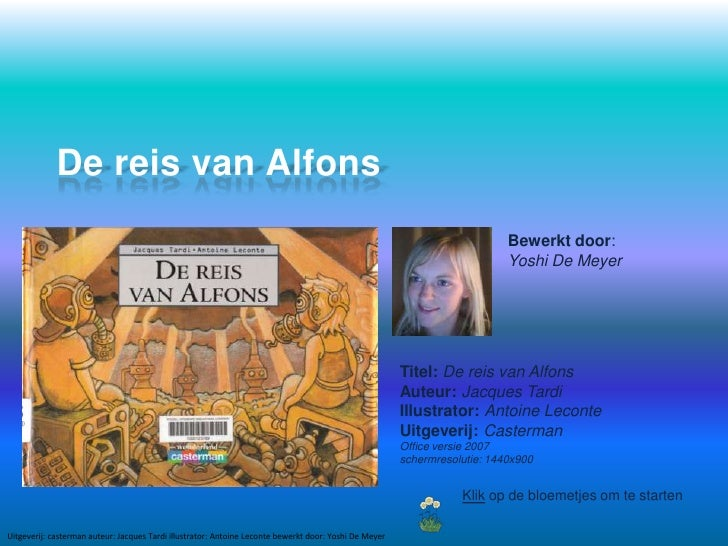 De reis van Alfons<br />Bewerkt door: Yoshi De Meyer<br />Titel: De reis van Alfons<br />Auteur: Jacques Tardi<br />Illust...