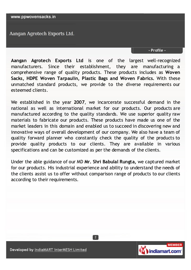 Aangan Agrotech Exports Ltd., Ahmedabad, PP Woven Sacks Slide 2