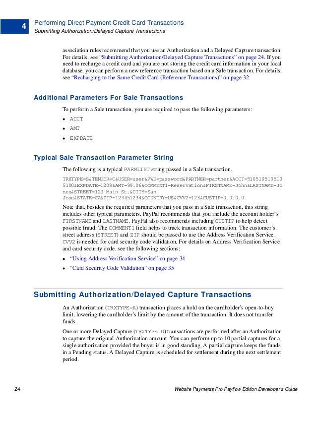 PayPal Website Payments Pro Payflow Edition Developer's Guide
