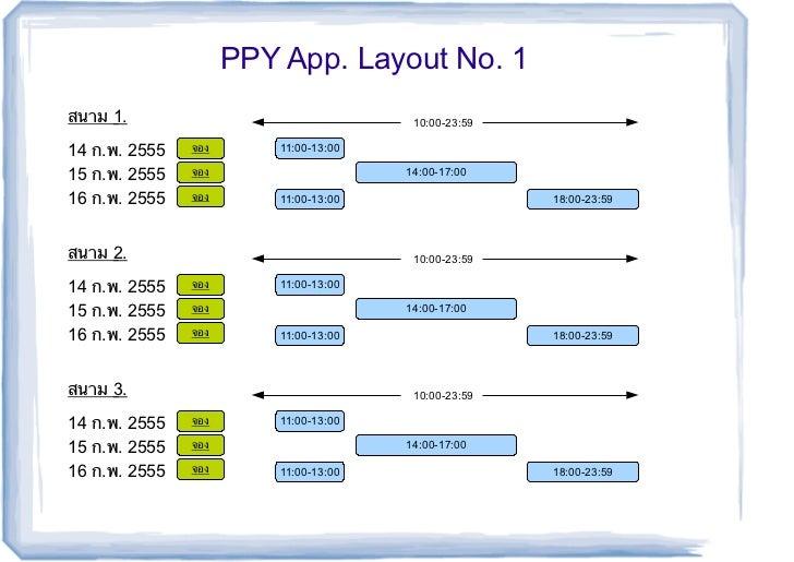 PPY App. Layout No. 1สนาม 1.                                 10:00-23:5914 ก.พ. 2555   จอง       11:00-13:0015 ก.พ. 2555  ...