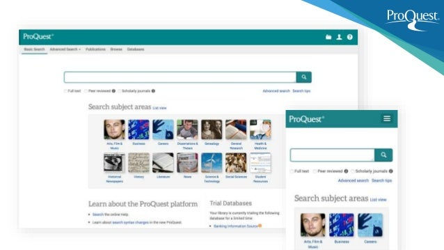 Easy Access to ProQuest Content ProQuest is committed to integrate with the researchers' workflow regardless of access poi...