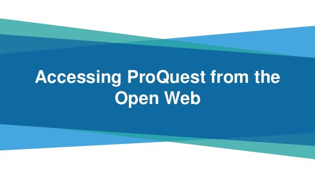 • This presentation references potential future features and functionality of ProQuest services. • Subject to user feedbac...