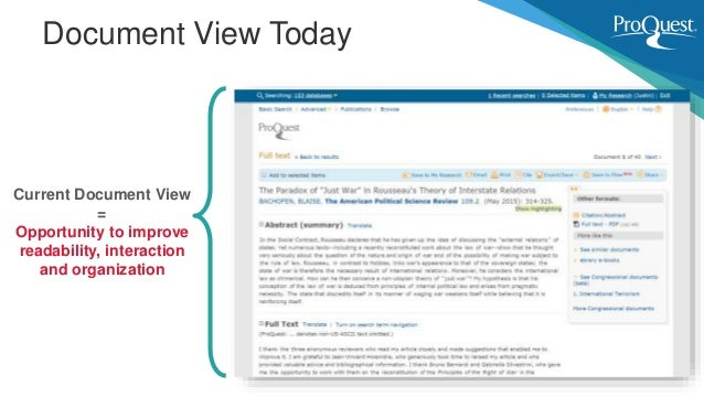 Document View Today Current Document View = Opportunity to improve readability, interaction and organization