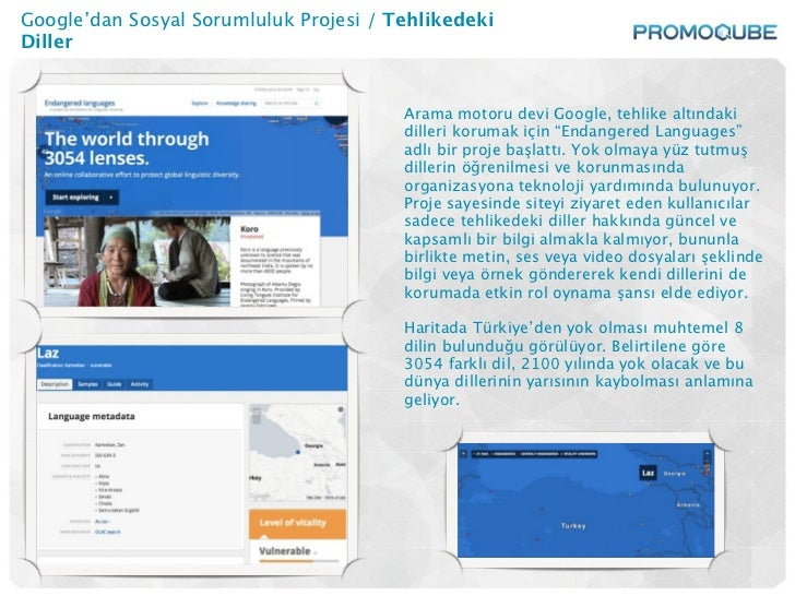 Google'dan Sosyal Sorumluluk Projesi / TehlikedekiDiller                                        Arama motoru devi Google, ...