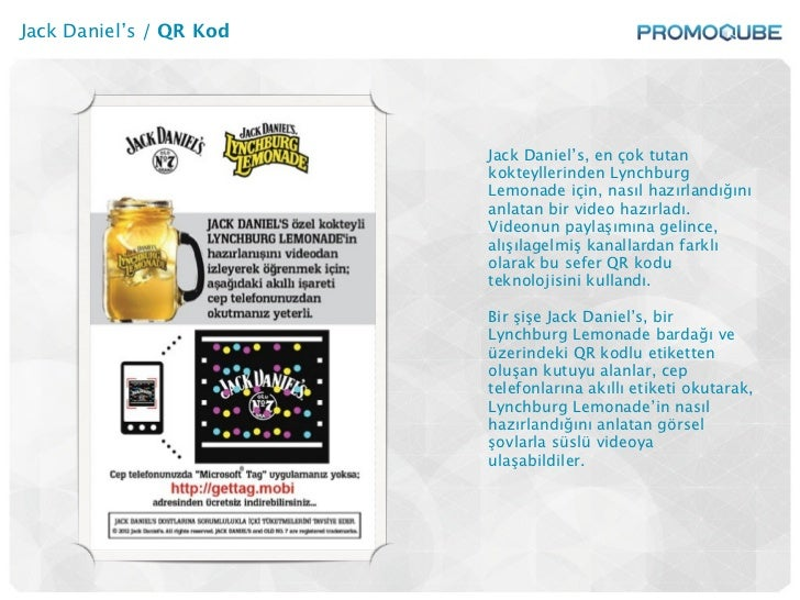 Jack Daniel's / QR Kod                         Jack Daniel's, en çok tutan                         kokteyllerinden Lynchbu...