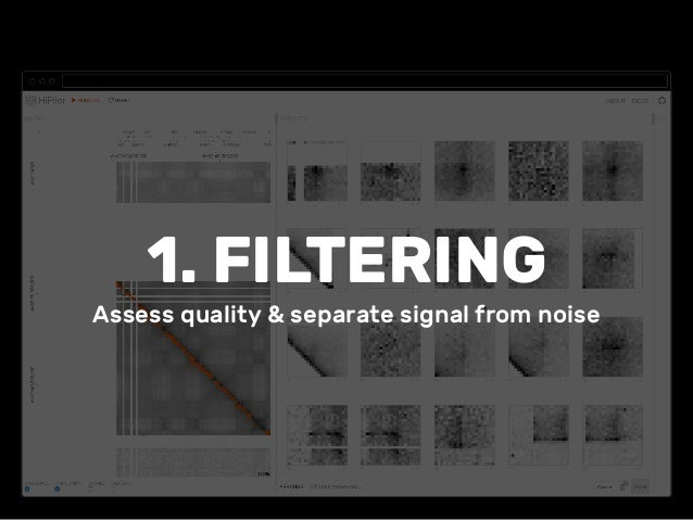 1. FILTERING Assess quality & separate signal from noise