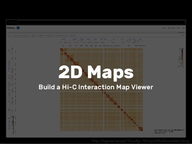 http://higlass.io/app/?config=TKXaqsSIRvGEcw2dAUQvxg 2D Maps Build a Hi-C Interaction Map Viewer