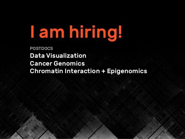 I am hiring! POSTDOCS Data Visualization Cancer Genomics Chromatin Interaction + Epigenomics