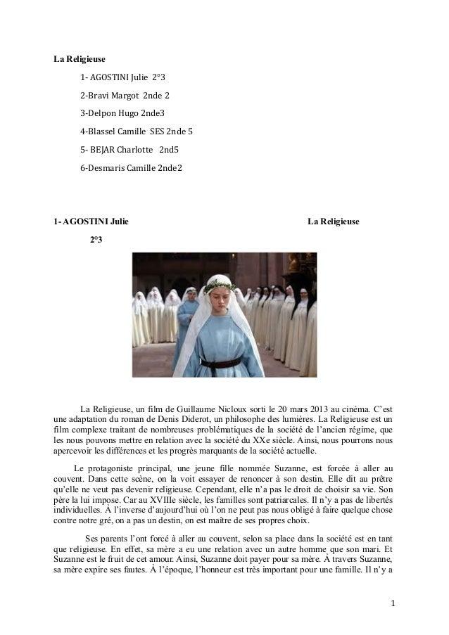 La Religieuse 1- AGOSTINI Julie 2°3 2-Bravi Margot 2nde 2 3-Delpon Hugo 2nde3 4-Blassel Camille SES 2nde 5 5- BEJAR Charlo...