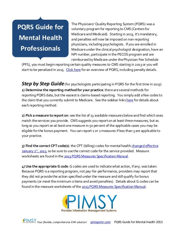 Pqrs Guide For Mental Health 2013