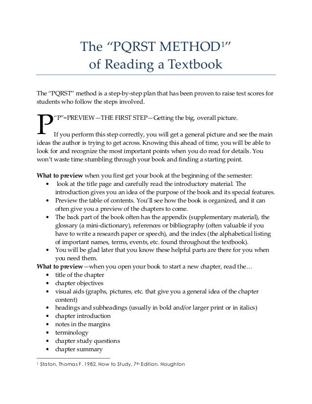 """The """"PQRST METHOD1"""" of Reading a Textbook The """"PQRST"""" method is a step-by-step plan that has been proven to raise test sco..."""