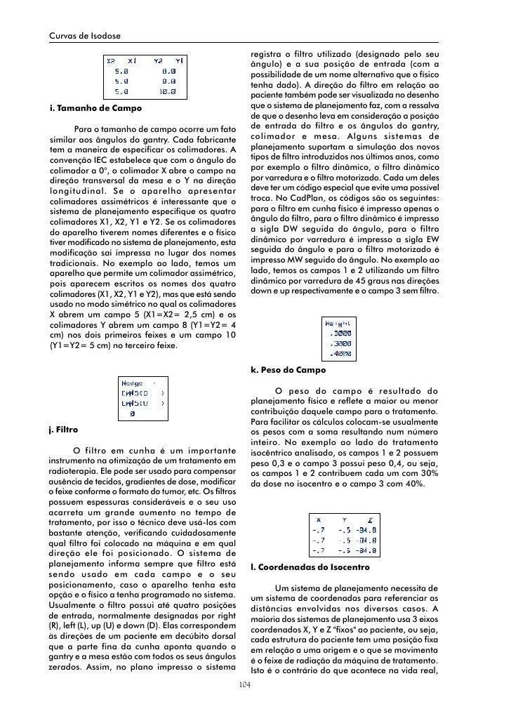 Curvas de Isodose                                                               registra o filtro utilizado (designado pel...
