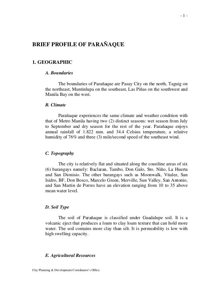 -1-BRIEF PROFILE OF PARAÑAQUE1. GEOGRAPHIC         A. Boundaries                The boundaries of Parañaque are Pasay City...