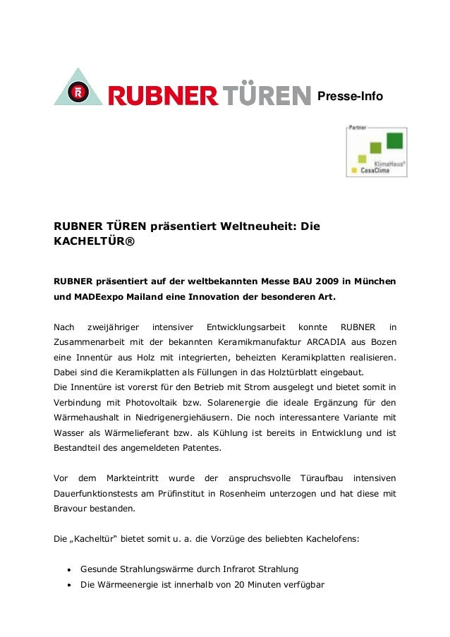 Presse-Info RUBNER TÜREN präsentiert Weltneuheit: Die KACHELTÜR® RUBNER präsentiert auf der weltbekannten Messe BAU 2009 i...