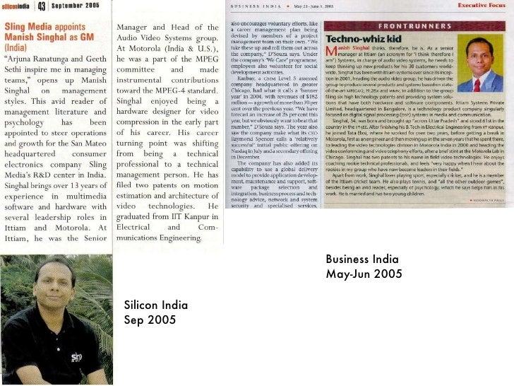 Silicon India Sep 2005 Business India May-Jun 2005
