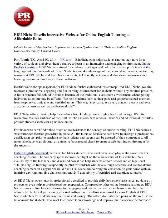 Edu Niche Unveils Interactive Website For Online English Tutoring At
