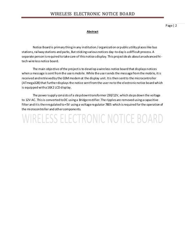 E notice board project report