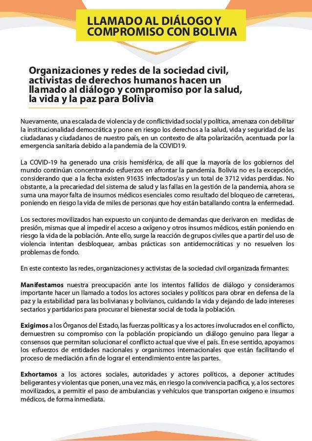 Organizaciones y redes de la sociedad civil, activistas de derechos humanos hacen un llamado al diálogo y compromiso por l...