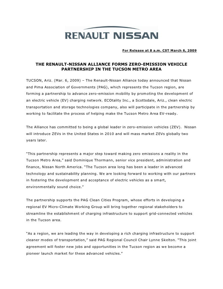 For Release at 8 a.m. CST March 6, 2009         THE RENAULT-NISSAN ALLIANCE FORMS ZERO-EMISSION VEHICLE               PART...