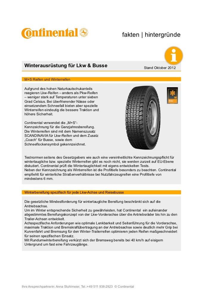 fakten | hintergründe Winterausrüstung für Lkw & Busse                                              Stand Oktober 2012 M+S...