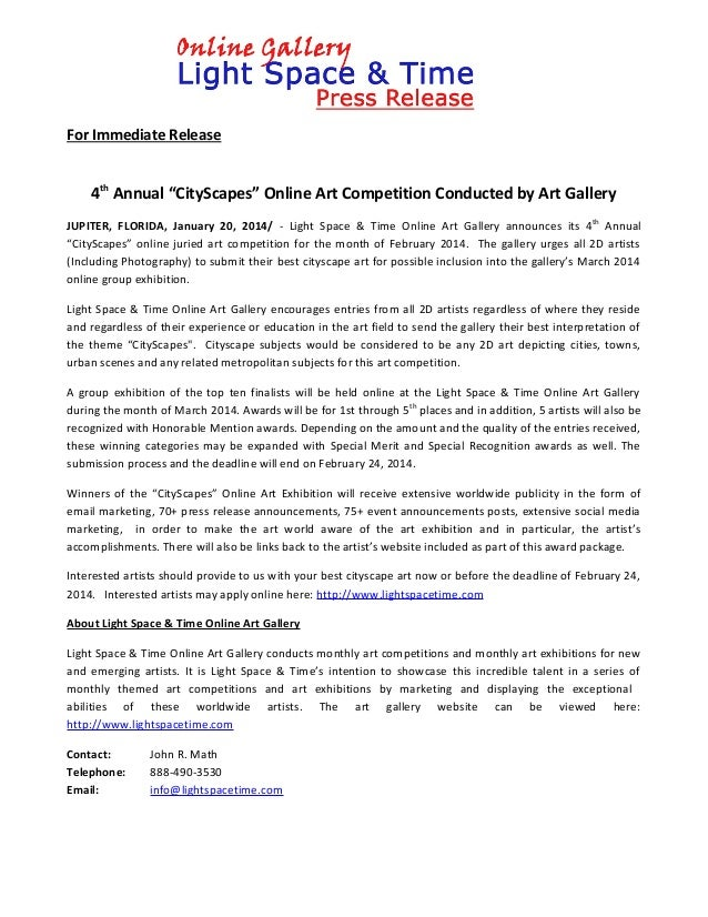 "For Immediate Release  4th Annual ""CityScapes"" Online Art Competition Conducted by Art Gallery JUPITER, FLORIDA, January 2..."