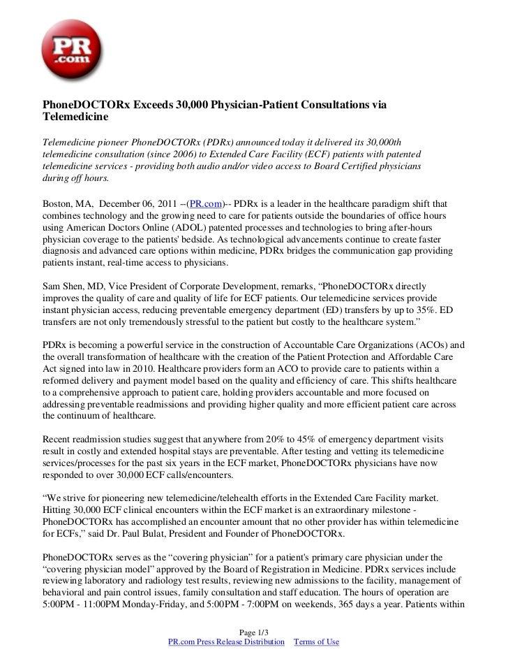 PhoneDOCTORx Exceeds 30,000 Physician-Patient Consultations viaTelemedicineTelemedicine pioneer PhoneDOCTORx (PDRx) announ...