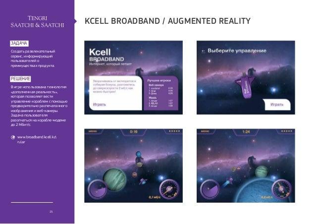 kcell broadband / Аugmented realityзадачаСоздать развлекательныйсервис, информирующийпользователей опреимуществах продукта...
