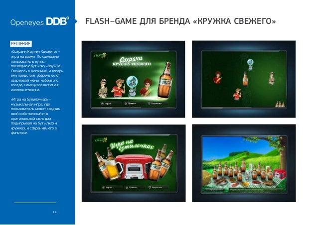 Flash–game для бренда «Кружка Свежего»решение«Сохрани Кружку Свежего» -игра на время. По сценариюпользователь купилпоследн...