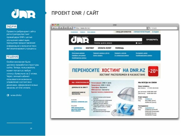 Проект dnr / сайтзадачаПровести ребрендинг сайтарегистратора/хостинг-провайдера DNR с цельюулучшения навигации,принципов п...