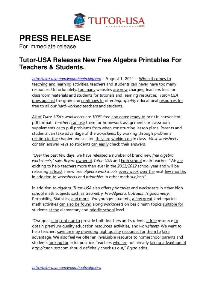 PR - New Algebra Worksheets Posted
