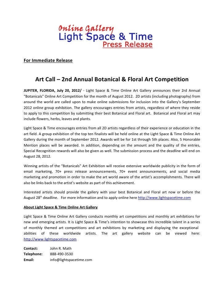 For Immediate Release       Art Call – 2nd Annual Botanical & Floral Art CompetitionJUPITER, FLORIDA, July 20, 2012/ - Lig...