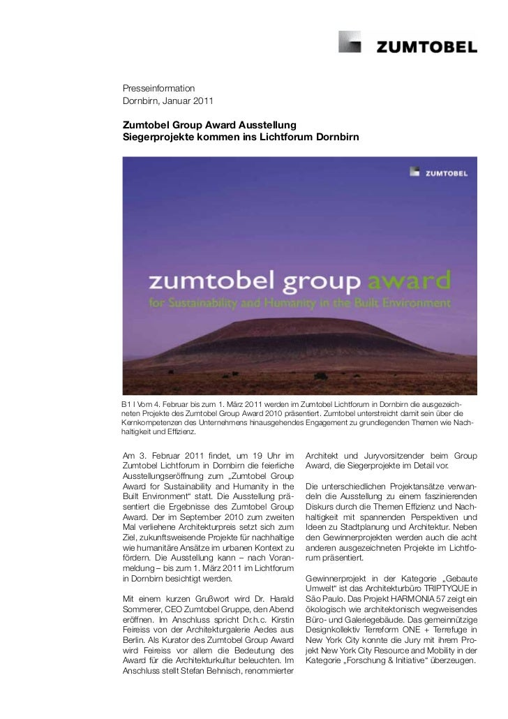 PresseinformationDornbirn, Januar 2011Zumtobel Group Award AusstellungSiegerprojekte kommen ins Lichtforum DornbirnB1 I Vo...