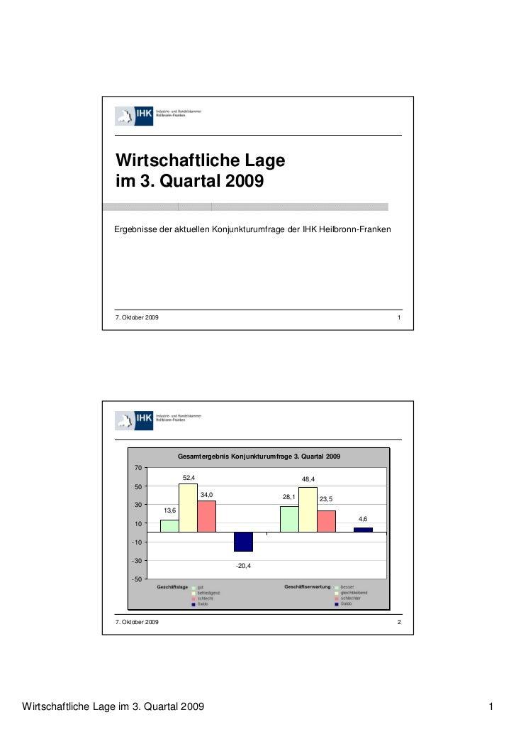 Wirtschaftliche Lage                   im 3. Quartal 2009                   Ergebnisse der aktuellen Konjunkturumfrage der...