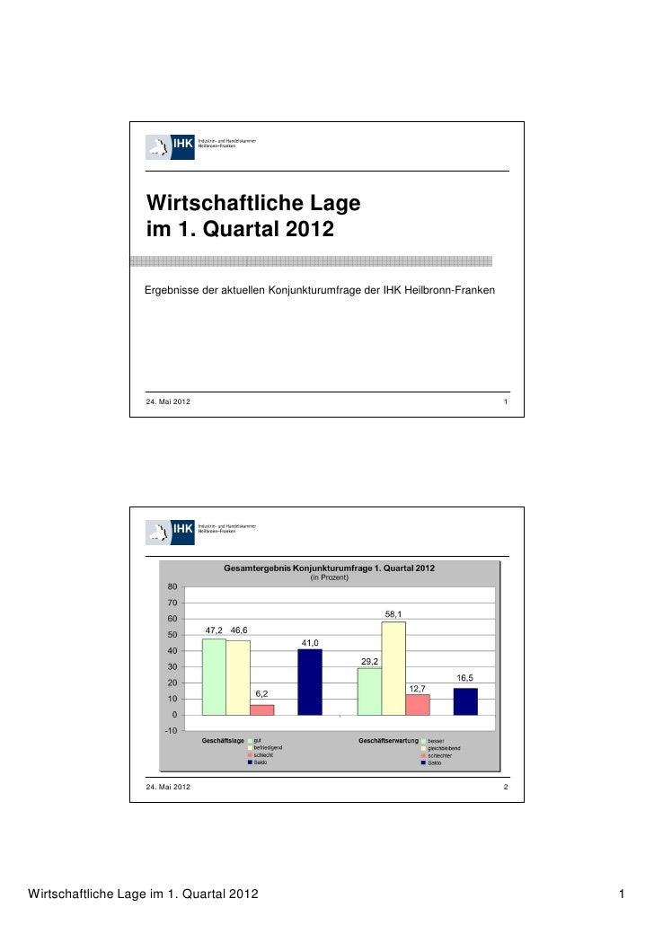 Wirtschaftliche Lage                   im 1. Quartal 2012                   Ergebnisse der aktuellen Konjunkturumfrage der...