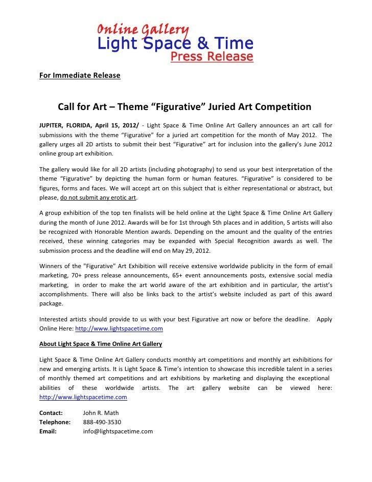 "For Immediate Release      Call for Art – Theme ""Figurative"" Juried Art CompetitionJUPITER, FLORIDA, April 15, 2012/ - Lig..."
